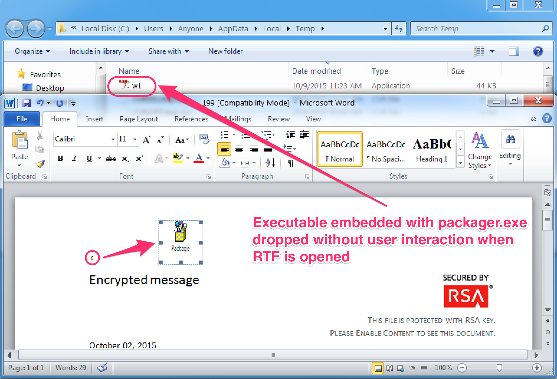 Dyre Malware Embedded Executable File