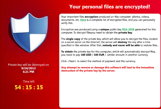 CryptoLocker Virus Example