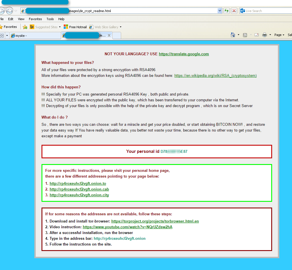 CryptXXX Ransomware Lockout Page Notification