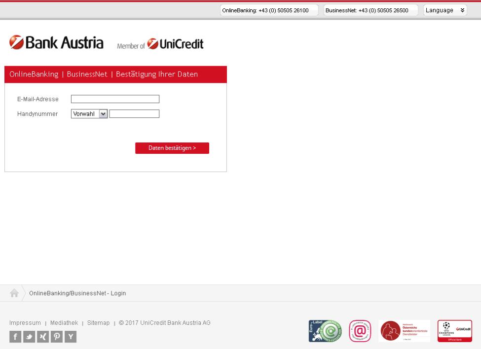 Phishing-Anmeldeseite