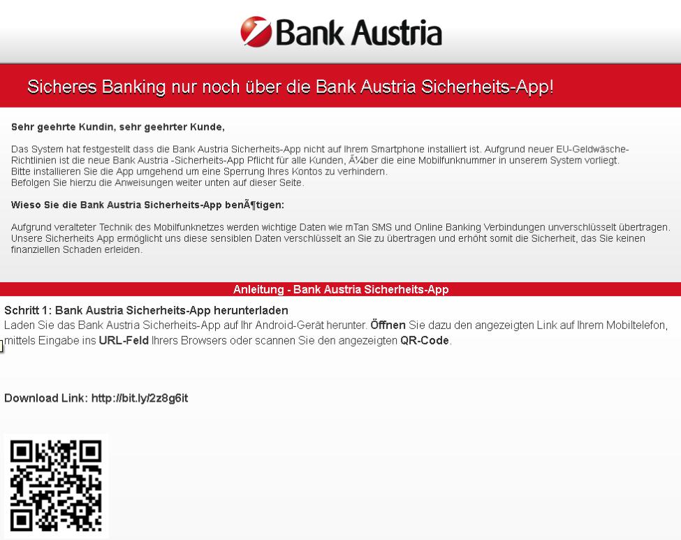 Fake-Download Bank Austria-App