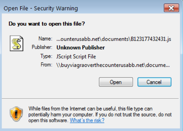 Warning dialog displayed after double-clicking the .url file