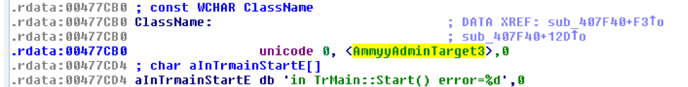 Strings with references to the leaked Ammyy Admin Version 3