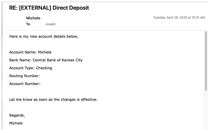 False Email Requesting Changes for BEC Payroll Diversion Attack