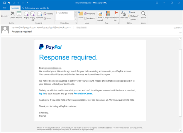 Example of Email Spoofing