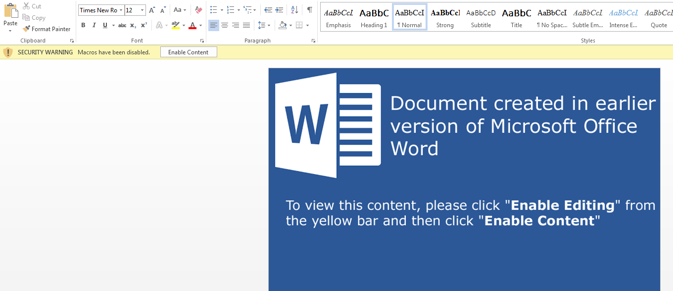 "Malicious macro document with ""Enable Content"" lure"