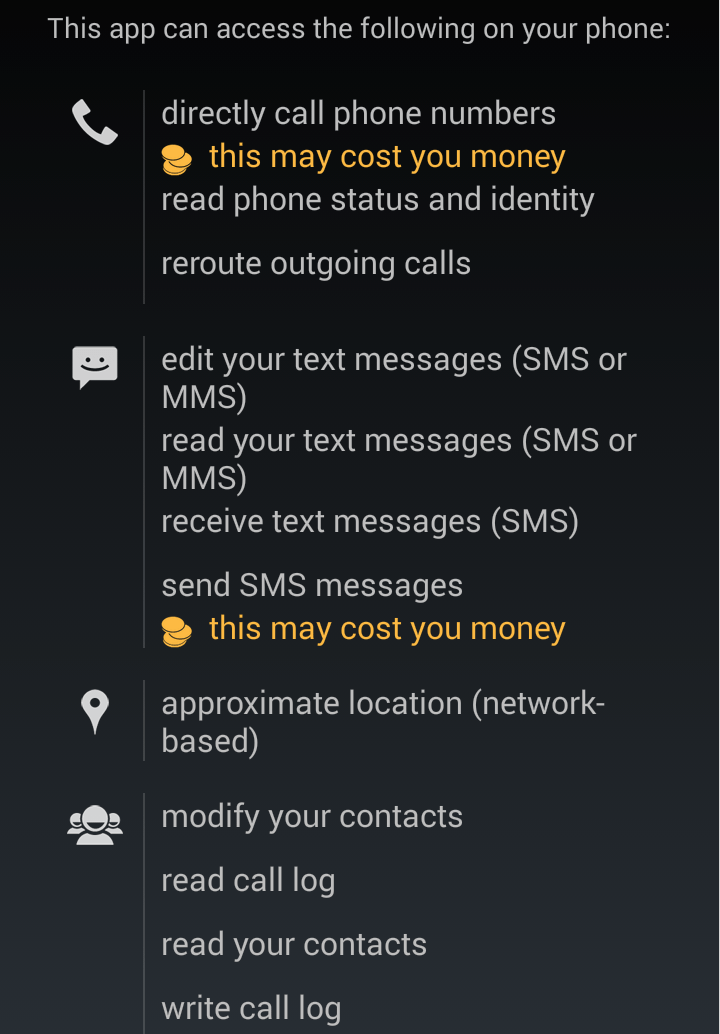 Screen 1 of the permissions requested by the malicious app