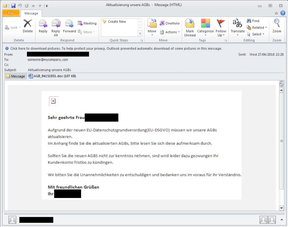 German-language threats span phishing, BEC, malware, and