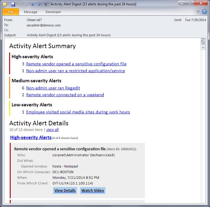 Get alerts on risky behavior