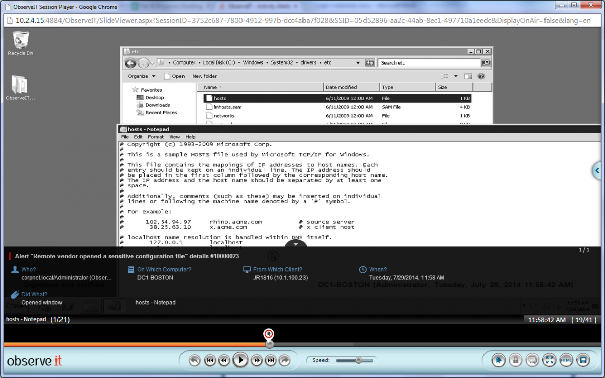 User activity video playback and real-time alert (Windows).