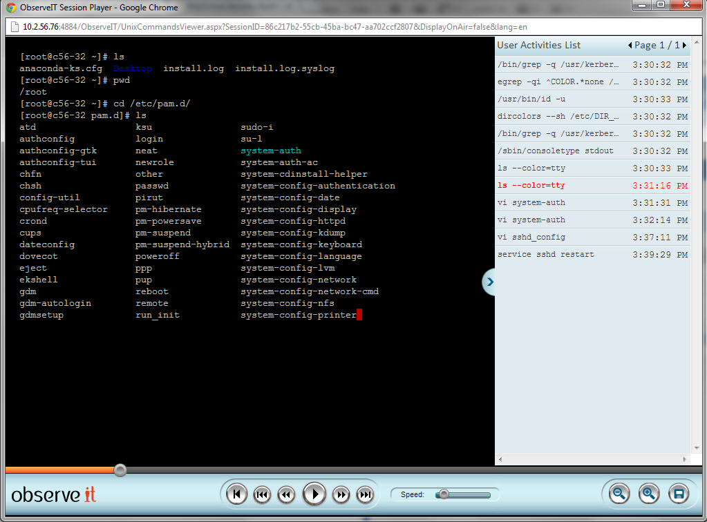 User activity video playback and searchable activity log (Unix).