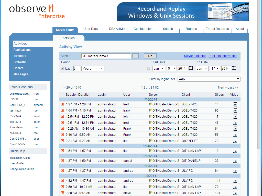 See user activity in readable logs