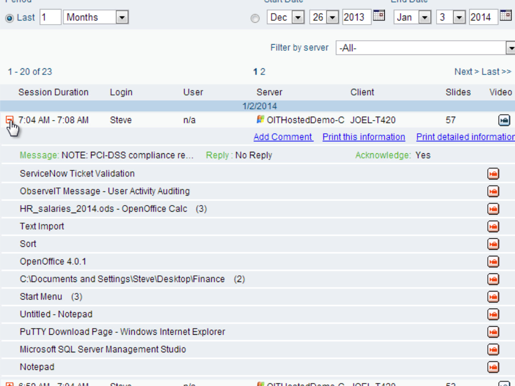 User activity log for a local session (not via a gateway), including direct playback links.