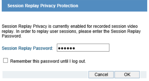 Protect user privacy with session playback protection