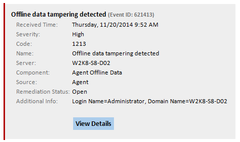 See when users try to tamper with offline monitoring data