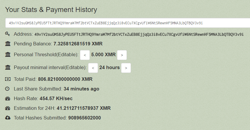 One of several Monero addresses associated with income from Adylkuzz mining