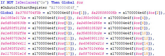 A snippet of variable initialization code from the large array of encoded strings