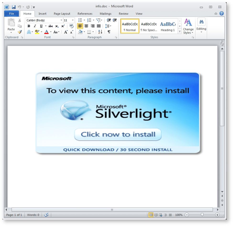 標的型の脅威が 偽silverlightのアップデート経由でキーロガーを