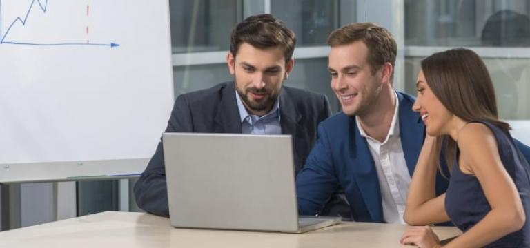 Male Employees Analyse Digital Risk Platform on Laptop