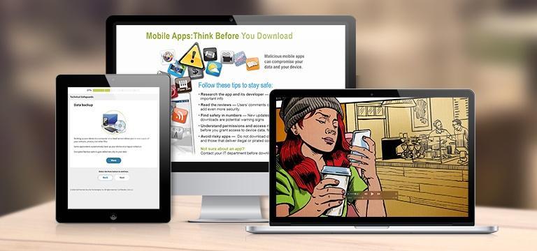 Distintos dispositivos mostrando los cursos de ciberseguridad de Proofpoint