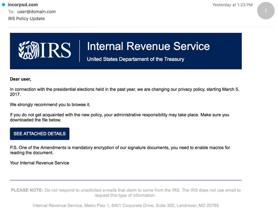 IRS malware scam email by Proofpoint