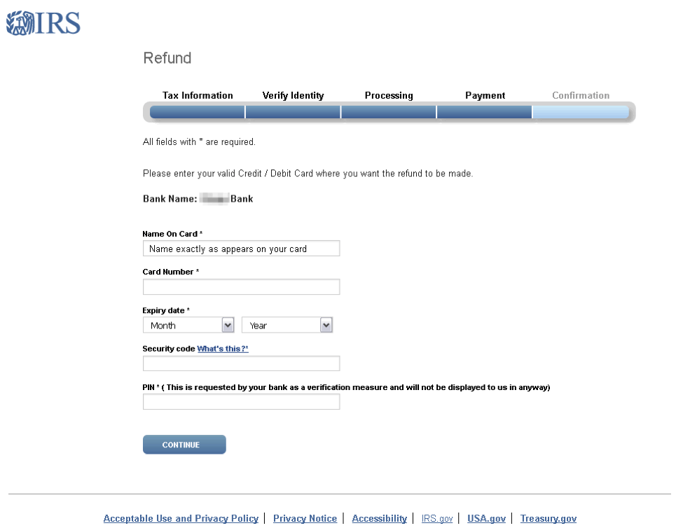figure 16 credit card phishing page using an irs themed template