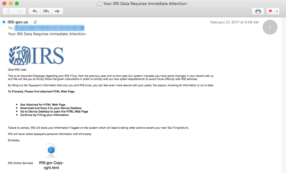 IRS phishing scam email from Proofpoint