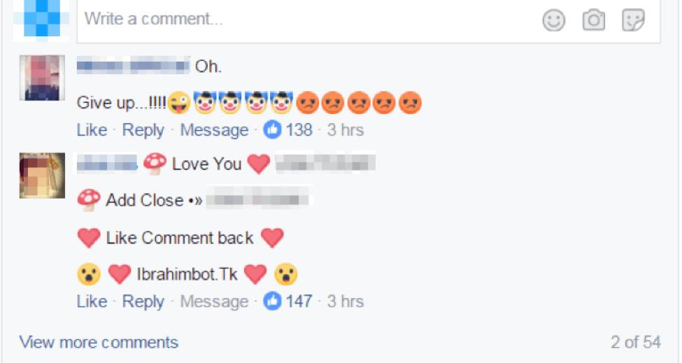 facebook spam bot