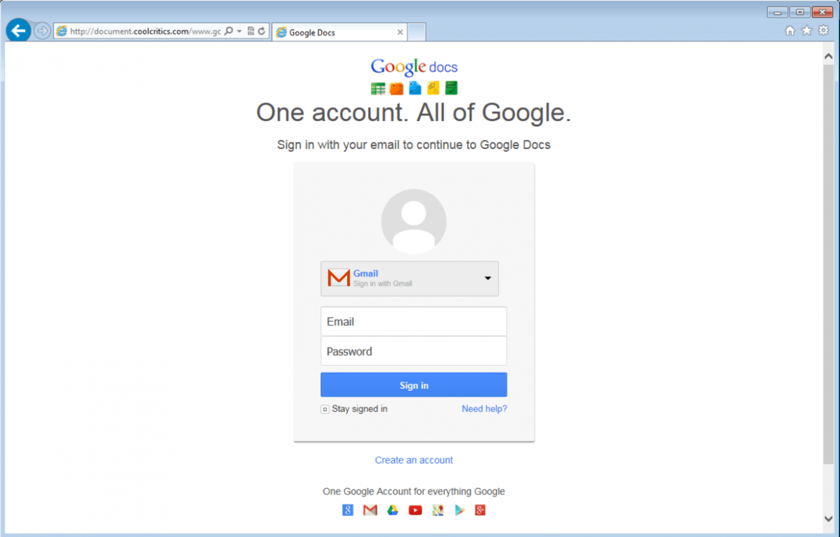 What attachments credential phishing with cloud based Google sites sign in