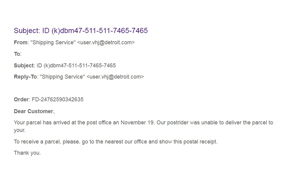 Phishing Malicious Attachment Example